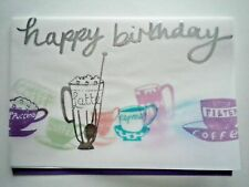 "PAPER MAGIC ~ EMBELLISHED ""HAPPY BIRTHDAY"" COFFEES GREETING CARD + ENVELOPE"