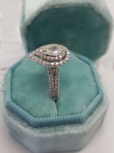 FANCY PEAR-CUT 1.10Ct DIAMOND 14K WHITE GOLD HALO ENGAGEMENT WEDDING RING