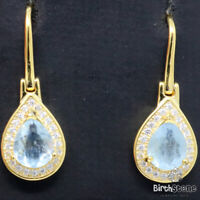 Genuine Pear Blue Aquamarine Drop Dangle Earrings Jewelry 925 Sterling Silver