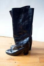 Vintage GUCCI Black Leather Knee High Riding Boots with Horsebit 39