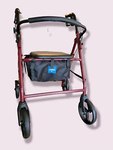 "Medline Basic Steel Rollator Walker MDS86850ES8 Burgundy 8"" Wheels New In Box"