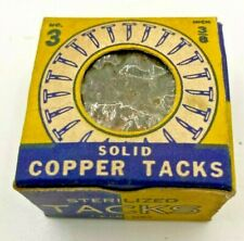 "Vintage 3/8"" No 3 solid COPPER TACKS Nails 100+ ea sharp point round flat head"