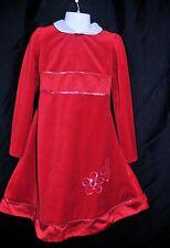 Little Bitty Girls Size 5 Red Velvet Dress Christmas Holiday Flower SequinDetail
