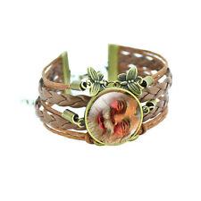 Christmas Vintage Style Bronze Brown Leather Santa Claus Bangle Bracelet BB166