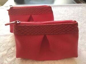 2x BareMinerals Pink Croc Trim Faux Design Small Zip Top Cosmetic Makeup Bag New