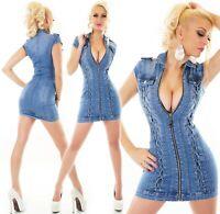 Minikleid Jeanskleid Stretch Jeans Demin Reißverschluss Schnürung XS S M L XL