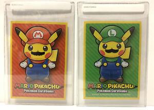 Mario Pikachu & Luigi Pikachu Card Sleeves Set Deck Shied Pokemon Center Japan
