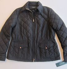 $219  Women's Polo Lauren Ralph Lauren Black Front Zip Quilted Jacket Coat – M