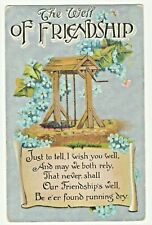 POSTED 1910 POSTCARD THE WELL OF FRIENDSHIP / SILVER CARD BLUE FLOWERS