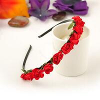Wholesale Boho Hot Fashion Red Flower Hairband Headband Beach Festival Wedding