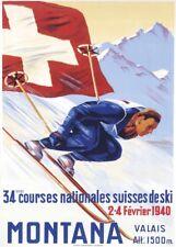 Vintage Ski Posters MONTANA, VALAIS, Swiss, 1940, Art Deco A3 Travel Print