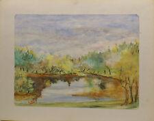 """"""" étang,Lac avec Arbres à feuilles caduques Paysage """"Aqua/Techniques mixtes."""