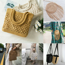 Vintage Beach Bags Women Straw Woven knitted Tote Shoulder Bag Shopping Handbag
