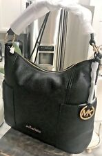 Michael Kors Anita Large Convertible Shoulder Hobo Bag in Black Pebbled Leather