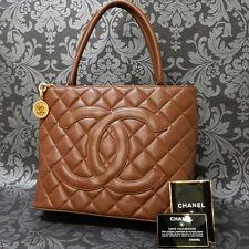 Rise-on Vintage CHANEL CAVIAR SKIN BROWN Gold MEDALLION Tote bag Handbag #1415 t