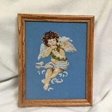 Angel Cherub Finished Counted Cross Stitch Picture with Light Oak Frame Mat