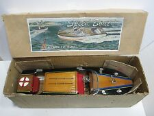 "SPEED BOAT TWIN MOTOR EXCELLENT PLUS IN ORIGINAL BOX 18"" TESTED AND RUNS GOOD"