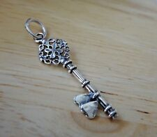 Sterling Silver Fancy 30x10mm Skeleton Key with Hearts Charm!