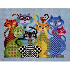NEEDLEPOINT HandPainted JP Needlepoint Cats CATITUDE 14x11