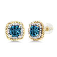 10K Yellow Gold Earrings 2.54 Ct Cushion London Blue Topaz White Diamond