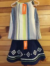 NWT GYMBOREE Girls BLUE SAFARI 2 Piece Linen Striped Top Embroidered Geo Skirt 4