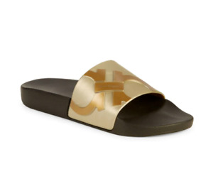 Salvatore Ferragamo Dante Metallic Logo Slides Sandals Slippers