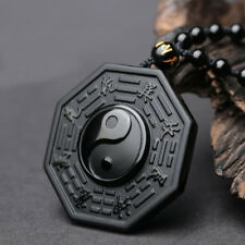 Men Black Protective Obsidian Yin And Yang Five Elements Lucky Necklace