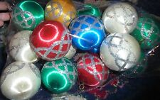 Assorted colors lot of yarn and glitter ornaments Christmas holiday decoration