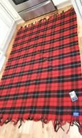 Pendleton Blanket HIGHLAND MOTOR ROBE Red Black Plaid NWT Fringe Throw