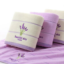 Lavender Embroidery Bath Towel Cotton Blend Washcloths Hand Face