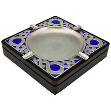 Mid Century Sterling silver ashtray with blue enamel and wood Ottaviani 1970