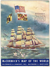 McCormick's Map of the World - with Flags, Spices, Illustrations : 1957
