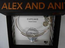 Alex and Ani CUPCAKE II Bangle Bracelet Shiny Silver New Tag Box Card