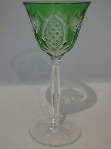 ONE VINTAGE ROEMER WINE GLASS CRYSTAL GREEN height 7,50""