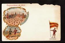 1900 multi-view Flag of Spain exposition Paris France postcard