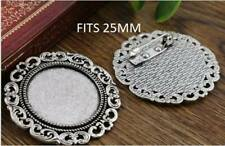 2 x Silver toned cabochon brooch pendant setting no.6   fits 25mm glass