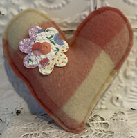 New Handmade Heart Pillow  Vintage Wool Blanket  Vintage Feed Sack Quilt Flower