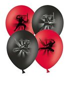 "Ninja - 12"" Printed Red & Black Assorted Latex Balloons Pack of 5 by Party Decor"