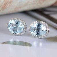 4Ct Oval Cut Aquamarine Push Back Halo Stud Earrings Solid 18K White Gold Finish