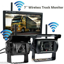"2X Wireless Rear View Backup Camera Night Vision+7"" Monitor For RV Truck Bus Kit"