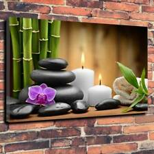 """Aromatic Candles Zen Stones Massage Printed Canvas Picture A1.30""""x20"""".30mm Deep"""
