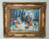 Gilt Framed Still Life Oil Painting - Ming Porcelain - Mid 20th Century