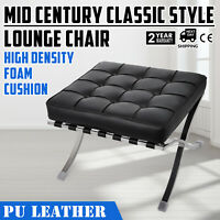 Barcelona Style Lounge Chair and Ottoman Set PU Leather Mid Century Modern