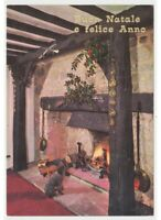 Poodle Fireplace Fuoco Photo Card Years 60 70 Christmas Atmospheric Decorations
