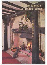 Caniche Cheminée Feu Photo Carte Postale Années 60 70 Noël Atmosphere Décoration