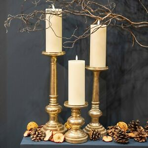 PILLAR CANDLE HOLDER Metallic finish gold brass colour CHOOSE SIZE