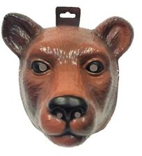 Brown Bear PVC Plastic Mask Costume Accessory Child Kids Adult Cubs Animal New