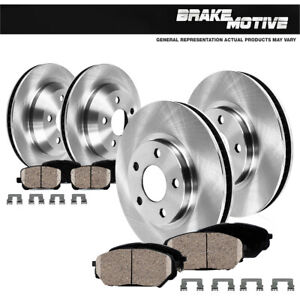 Front and Rear Brake Rotors and Ceramic Pads For 2011 2012 2013 Porsche Cayenne
