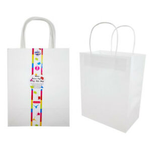White Color Kraft Craft DIY Paper Carry Bags Shopping Gift Bag with Handle Bulk