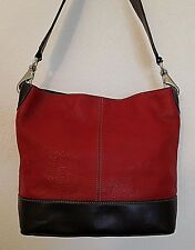 TIGNANELLO RED & BROWN LEATHER SHOULDER BAG TOTE PURSE SATCHEL